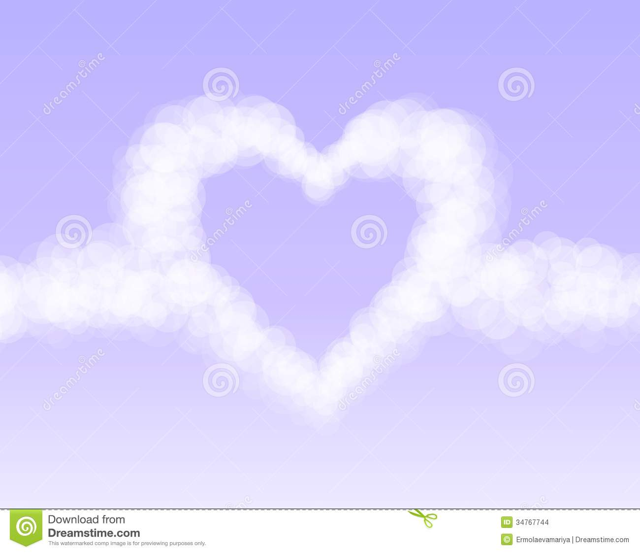 clouds heart on pink romantic sky background stock illustration