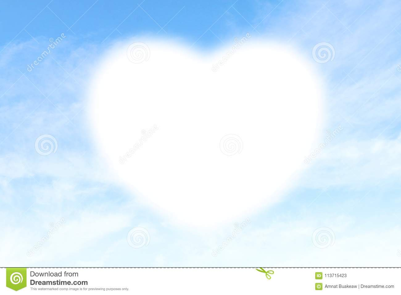 Clouds Heart shape white soft on Sky Blue background, Heart-shaped on sky for design valentine greeting cards copy space message w