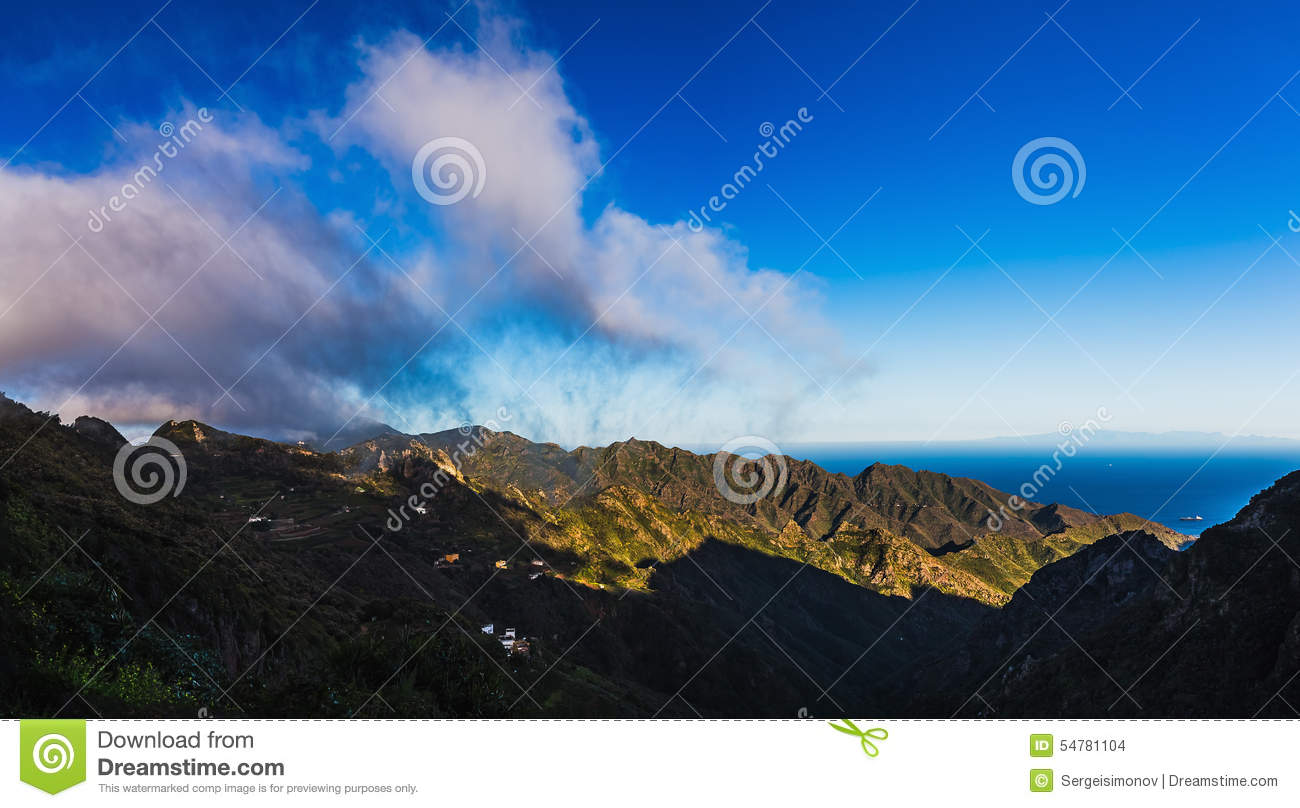 Clouds And Mountains With Blue Sky Horizon Stock Photo ...