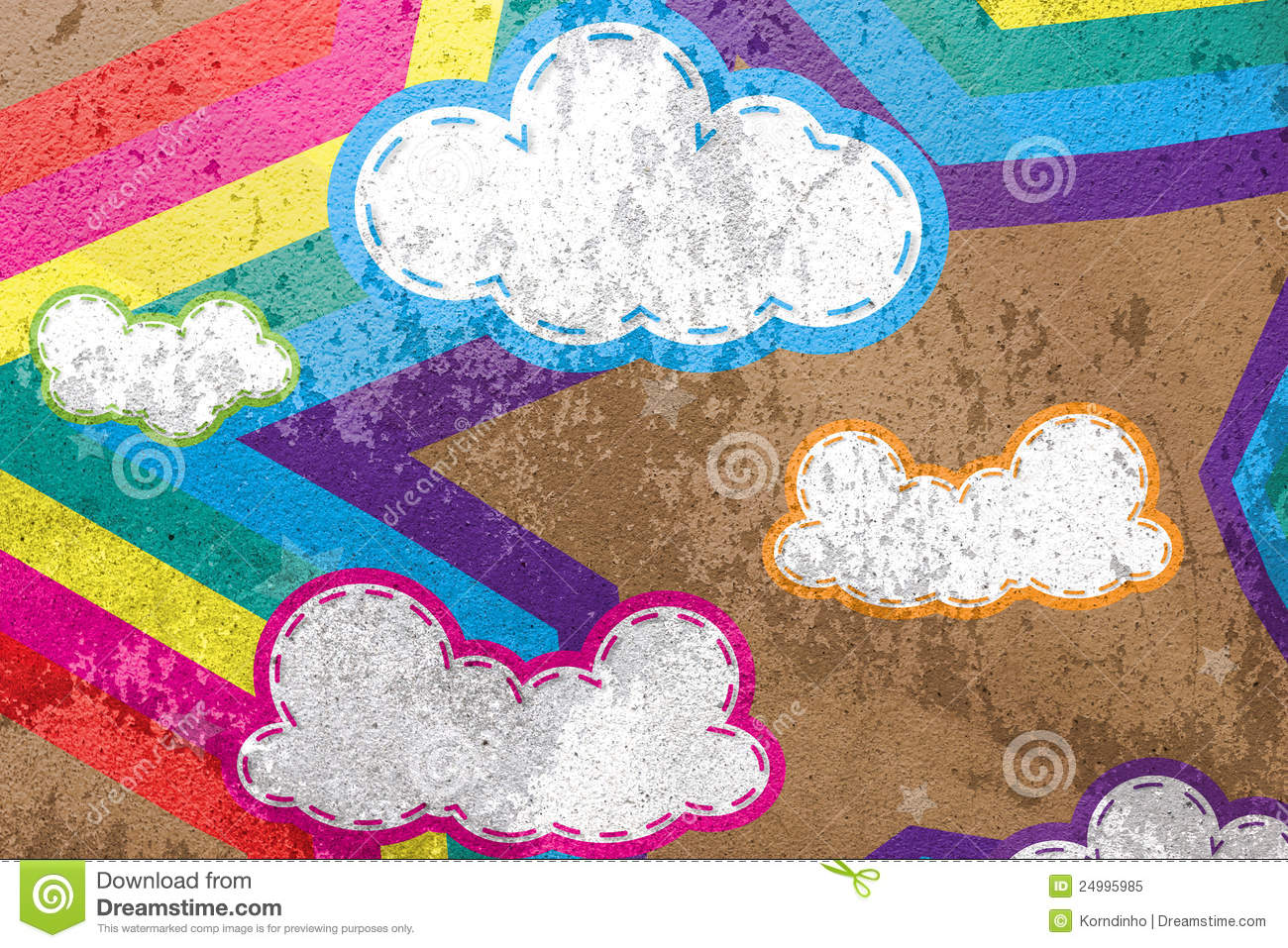 Clouds And Rainbows Star On Cement Background Stock Illustration