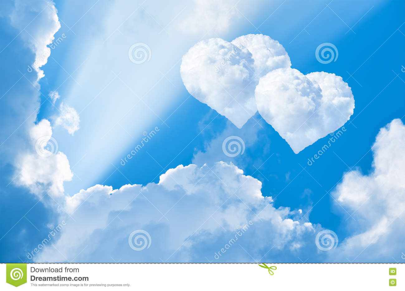 clouds in the shape of heart in the sky stock image - image of