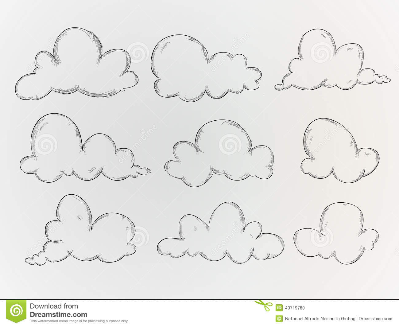Notebook And Pen Sketch Stock Vector Art More Images Of: Clouds Sketch Vector Pack Stock Vector. Illustration Of