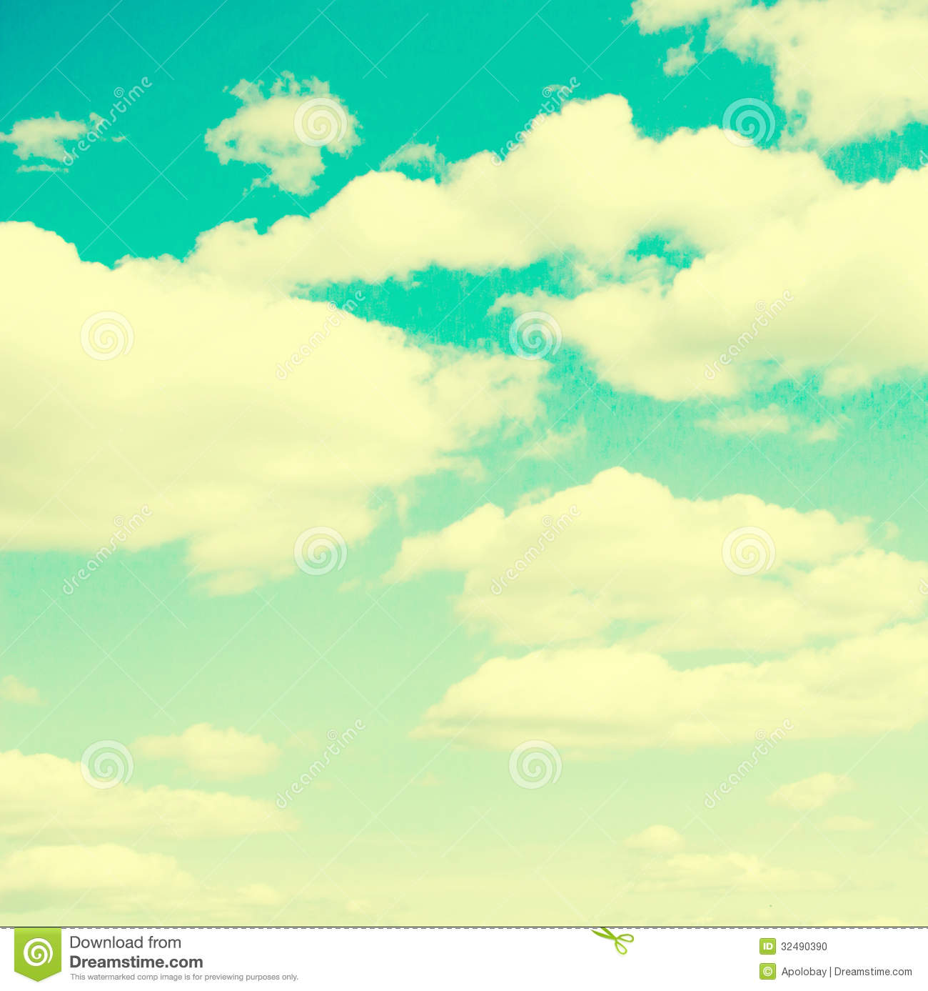 Clouds And Sky Vintage Retro Style Stock Photo Image