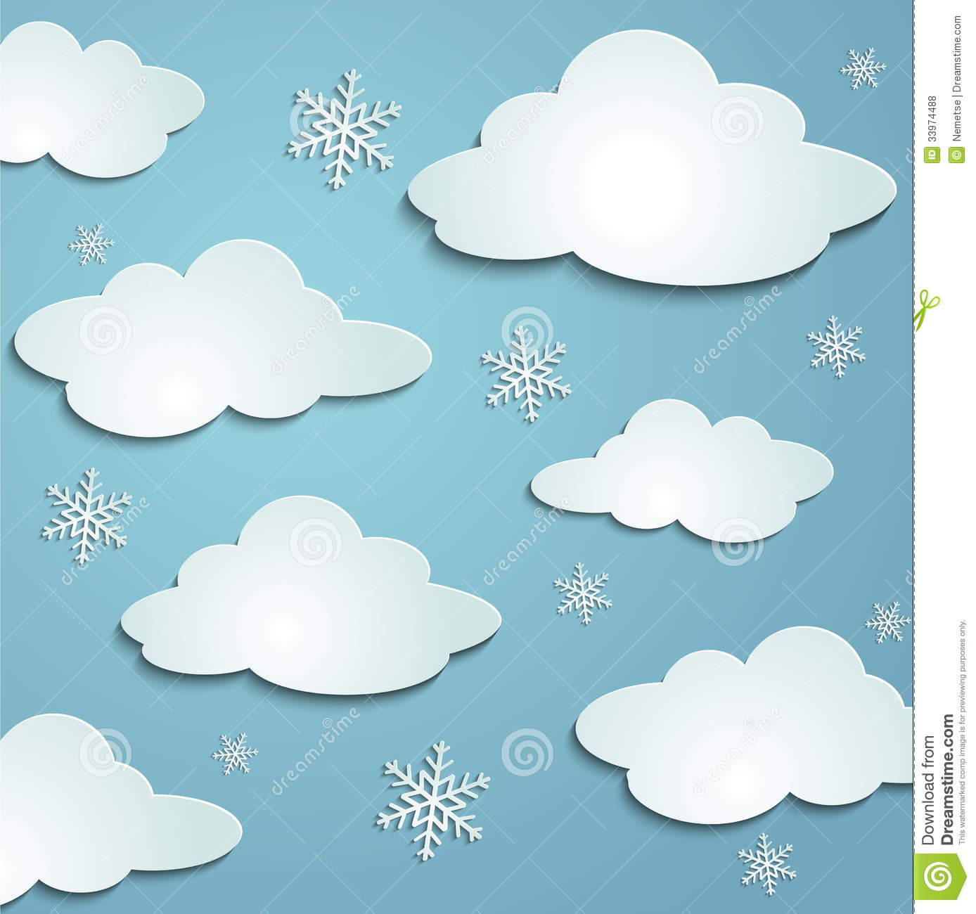 Clouds snowflakes royalty free stock photos image 33974488 for How to make a paper cloud