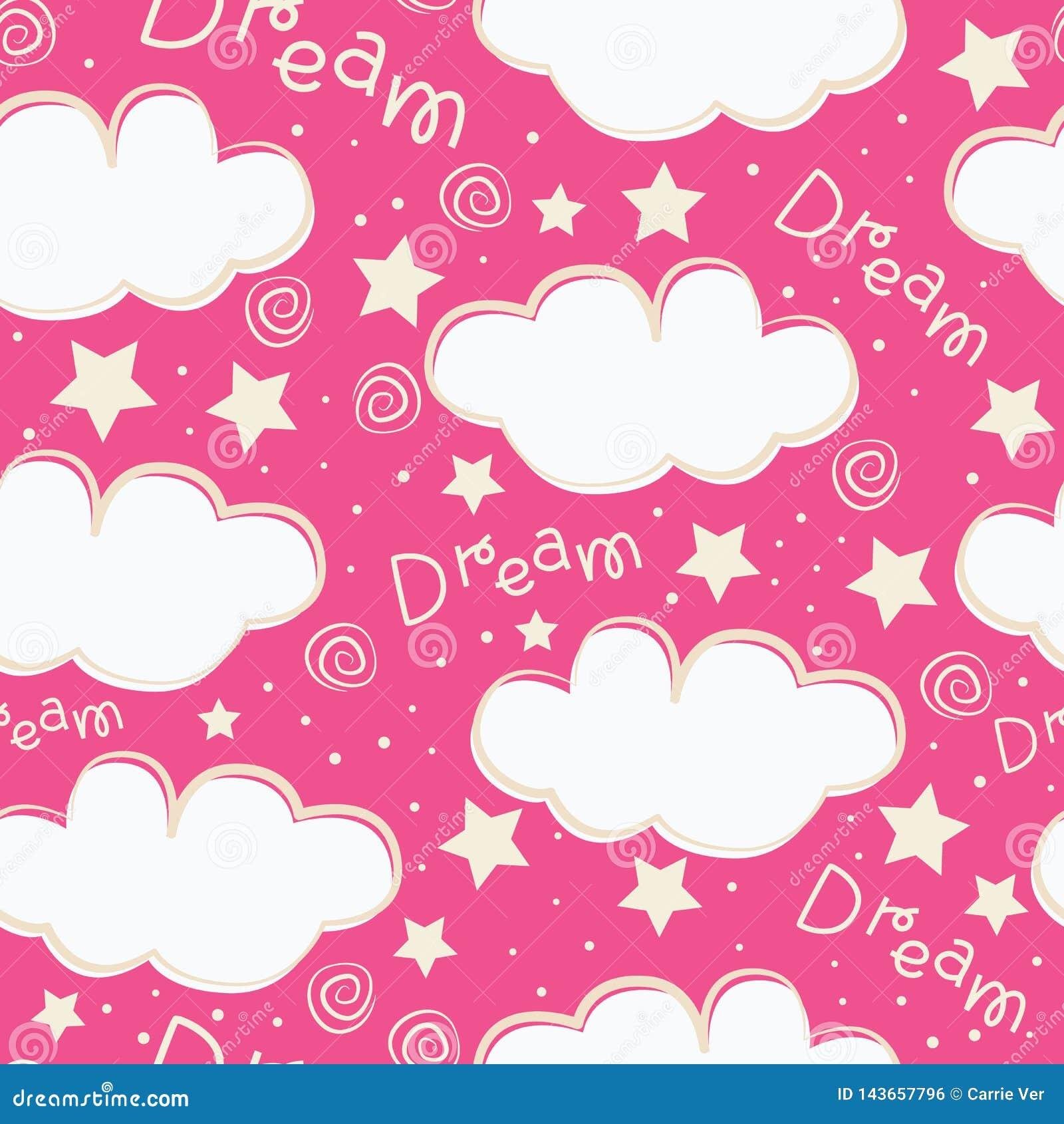 Clouds and stars kids seamless pattern design