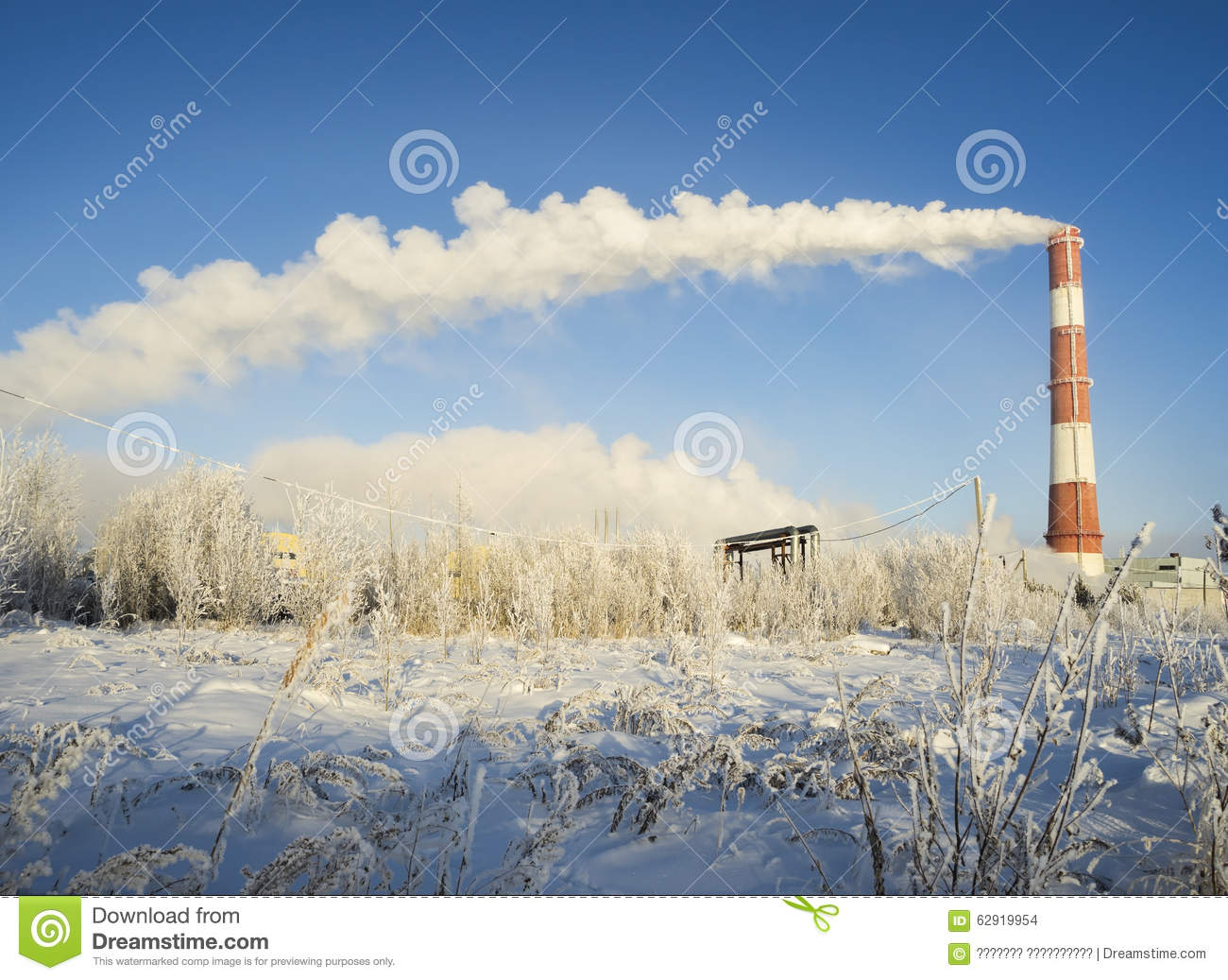 The Clouds Of Steam Coming From The Chimney In Winter . Stock Photo ...