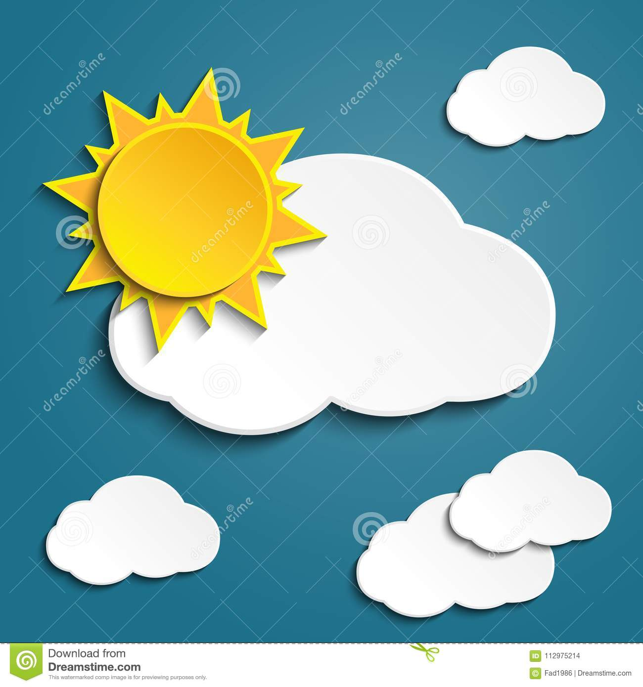Vector abstract background- white paper clouds and sun