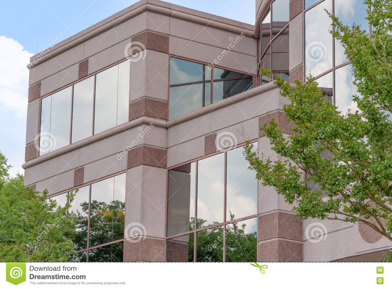Download Clouds And Trees Reflection On Corporate Building Stock Photo - Image of windows, reflection: 72455988