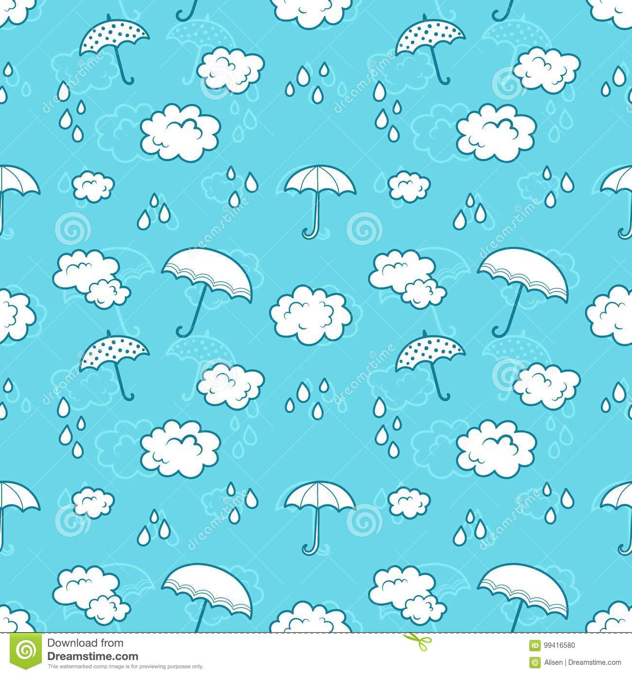 graphic regarding Umbrella Pattern Printable identified as Clouds And Umbrella Cartoon Seamless Pajama Routine For Children