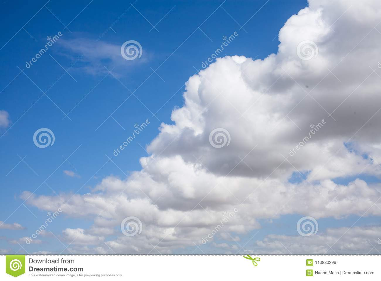 Cloudscape background. Blue sky background with white clouds. Sky after raining. Close up view of beautiful blue sky background.