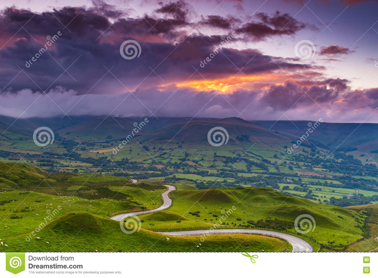 Cloudy landscape at sunset in the Peak District, Derbyshire, UK
