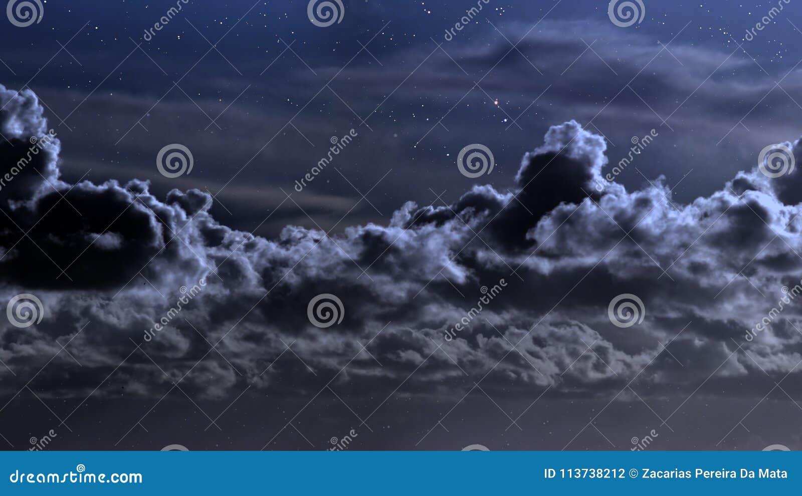Cloudy Night Sky Stars Cloudy night wi...