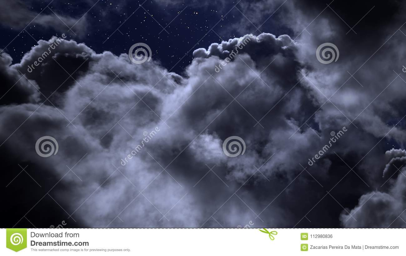 Cloudy night with stars