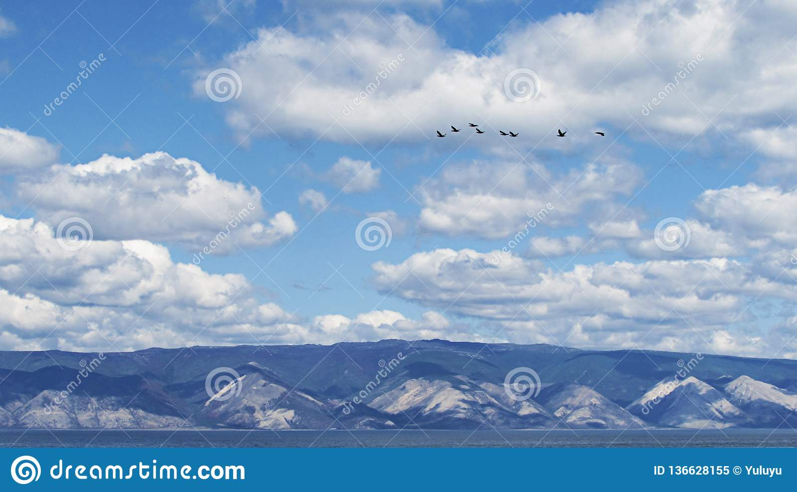 Cloudy sky on the background of the mountain coast with a flock of birds flying in the heaven.