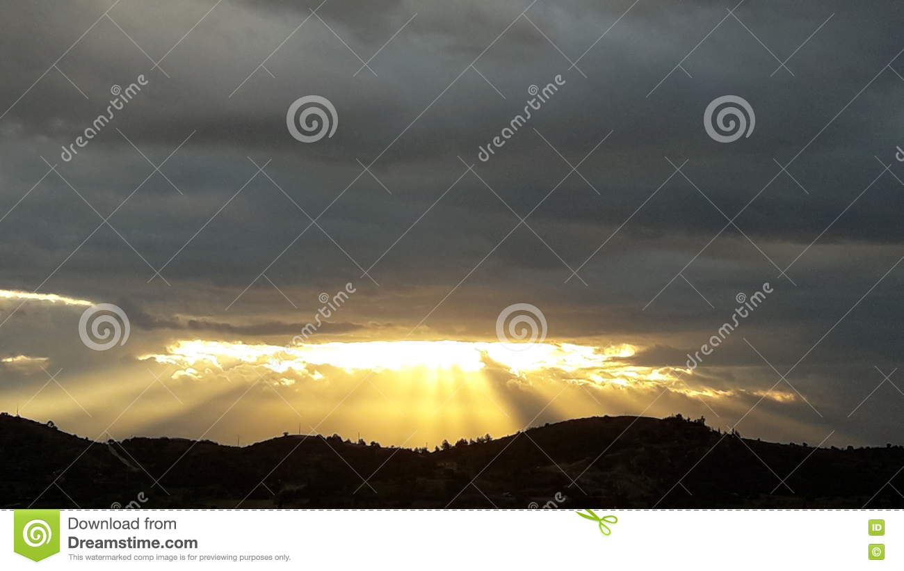 Cloudy Sky Hope Sunshine Sunrise God Signs Stock Image