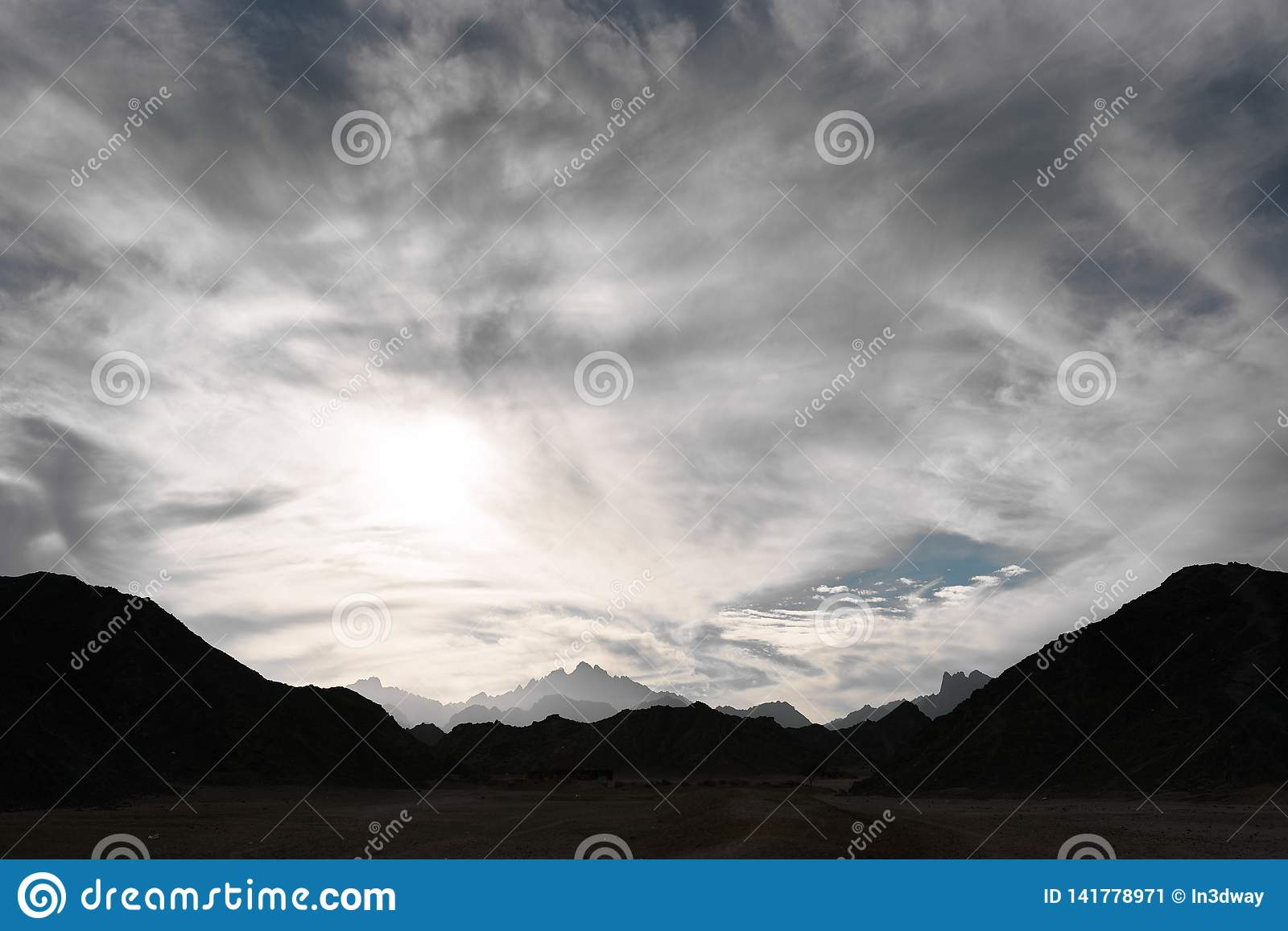 Cloudy sky over the mountains