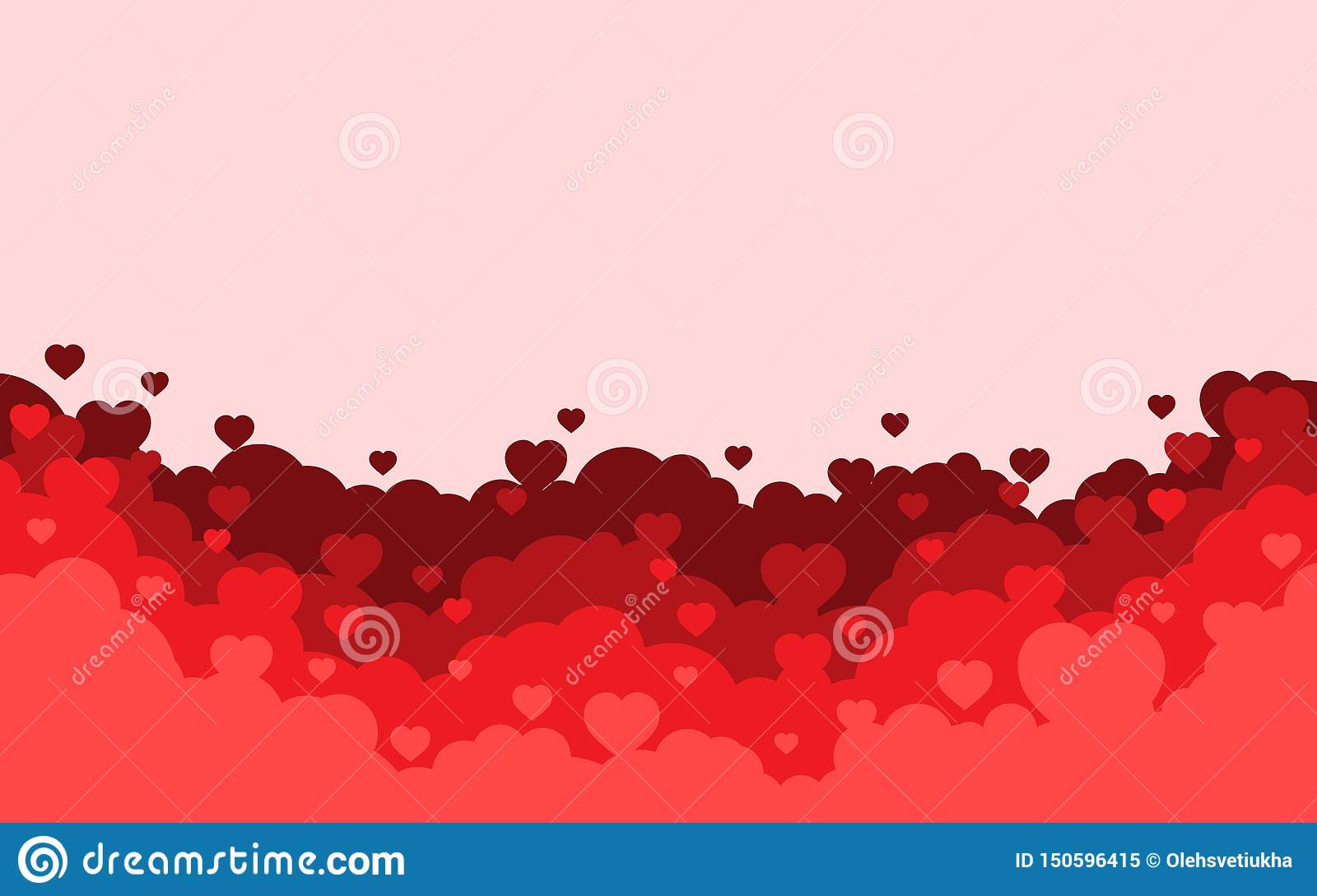 Cloudy sky with red hearts background. Valentines day holiday card. Cartoon flat style design. Vector illustration