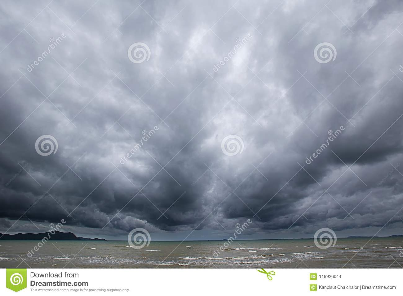 Cloudy storm in the sea before rainy.