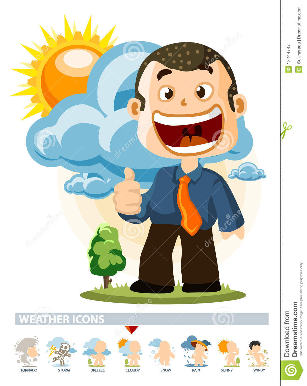 Cloudy. Weather Icon stock illustration. Image of wind ...
