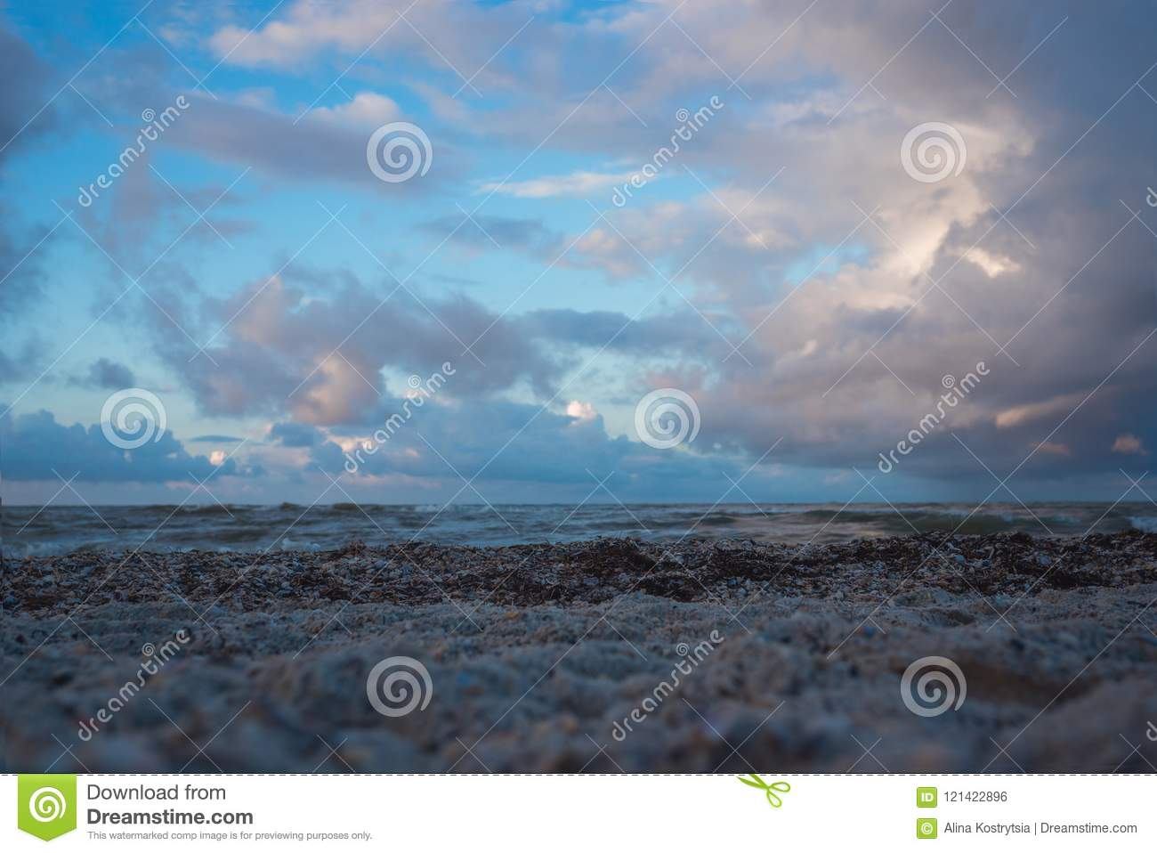 Cloudy weather at the sea with beautiful clouds