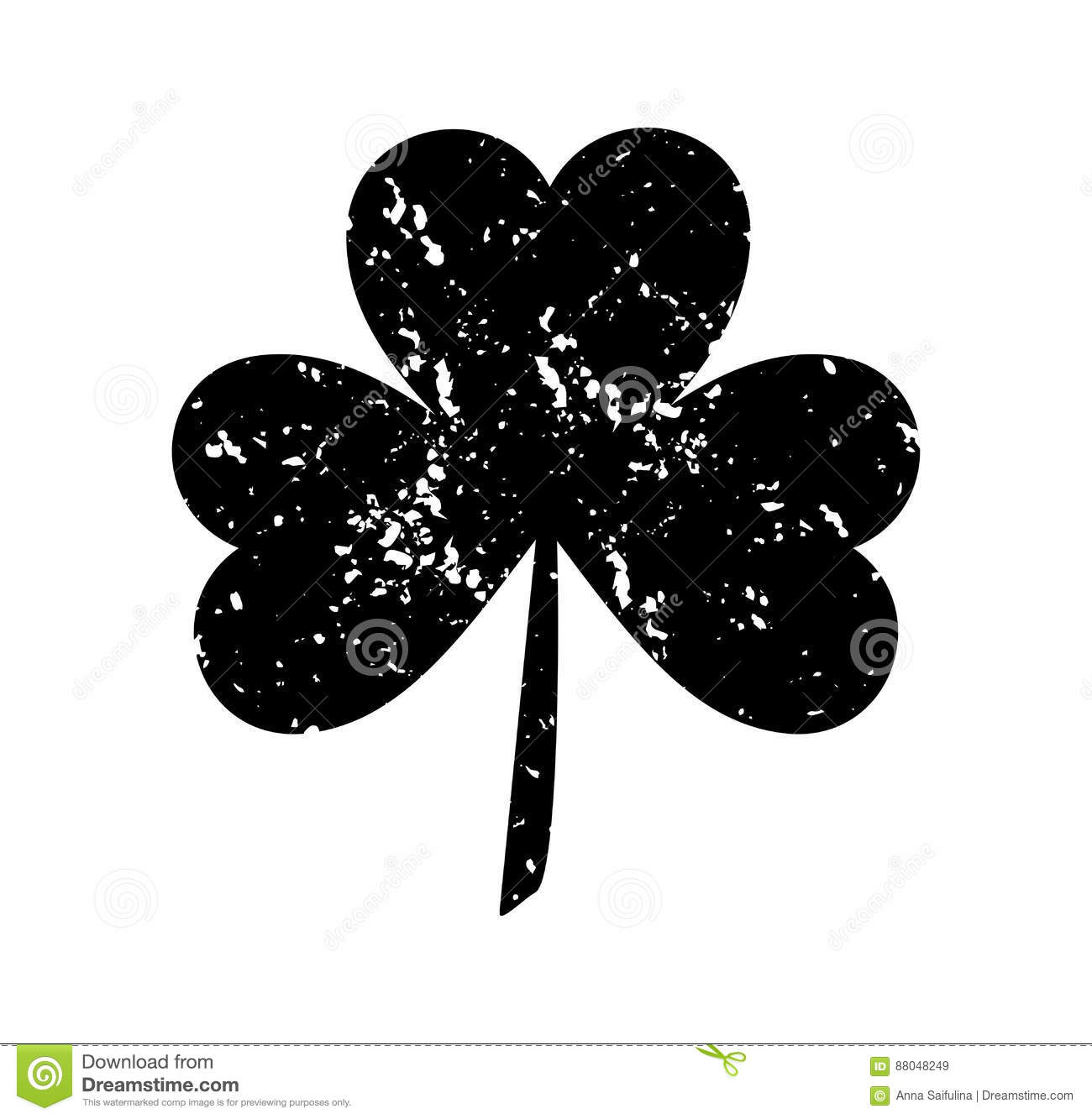 clover leaf isolated black white background silhouettes three flat style abrasion spots scratches