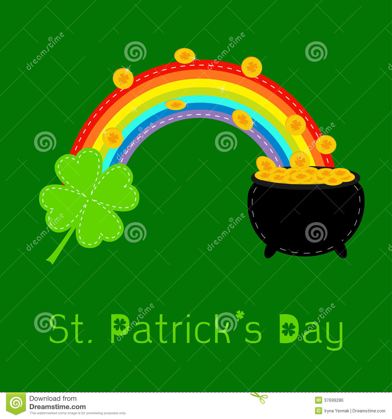 Clover Leaf Rainbow And Pot With Gold Coins St Patricks Day Card Flat Design Vector Illustration