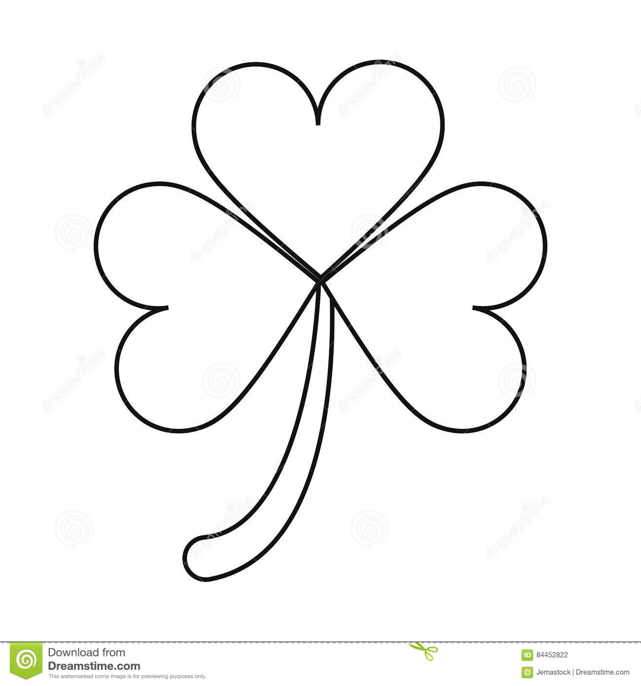 clover leafs saint patrick day ornament outline stock vector