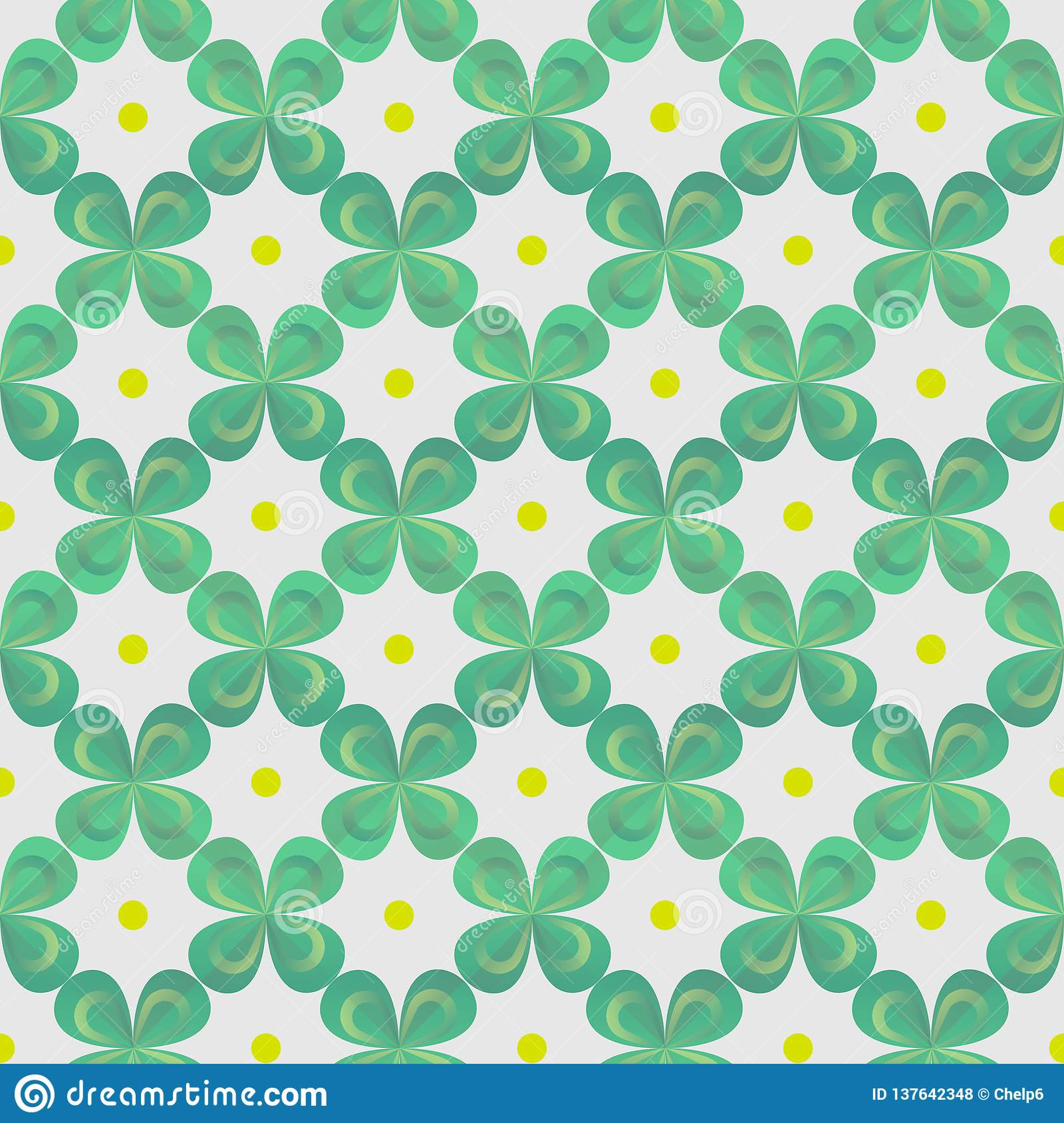 Clover Leaves Seamless Vector Pattern St Patrick S Day