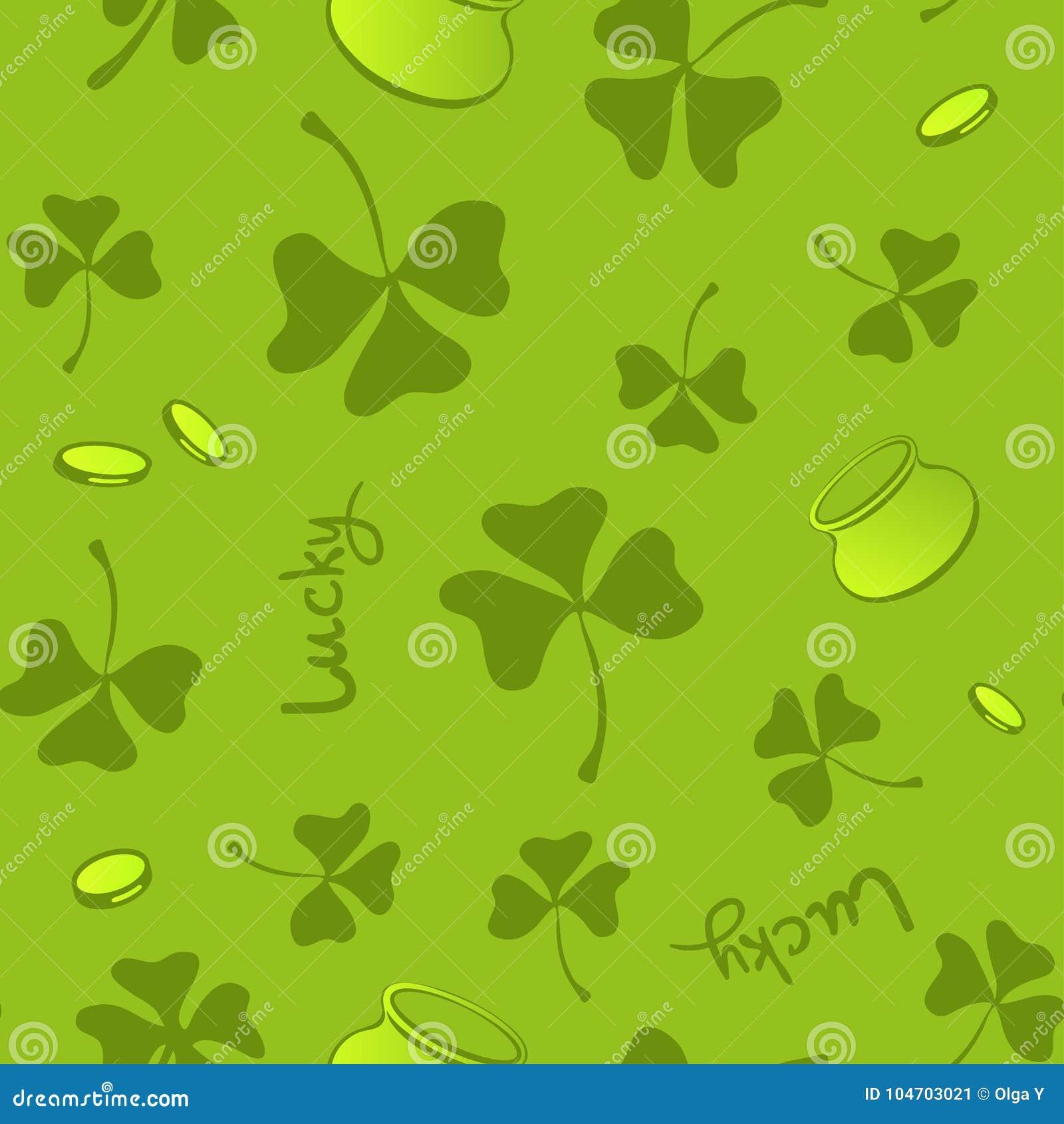 Clover Leaves Seamless Vector Pattern St Patricks Day Green Background Shamrock Wallpaper