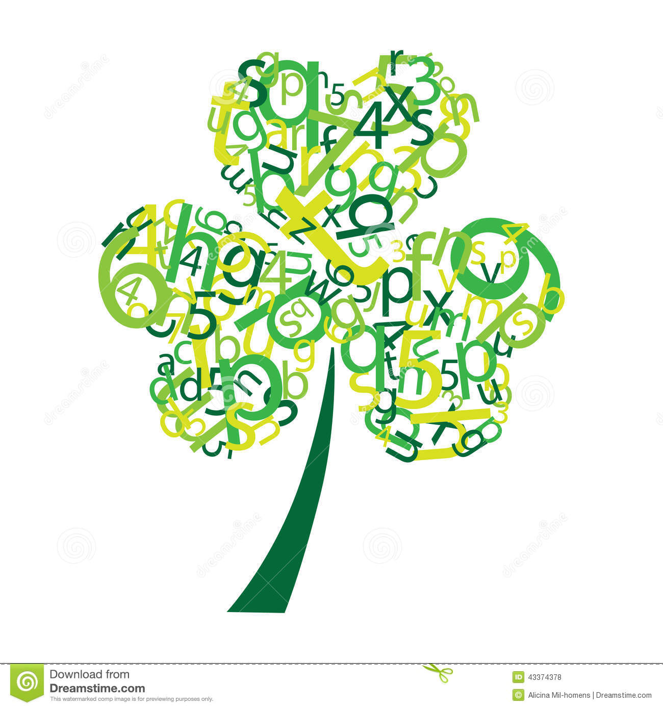 Clover With Letters And Numbers Stock Vector ...