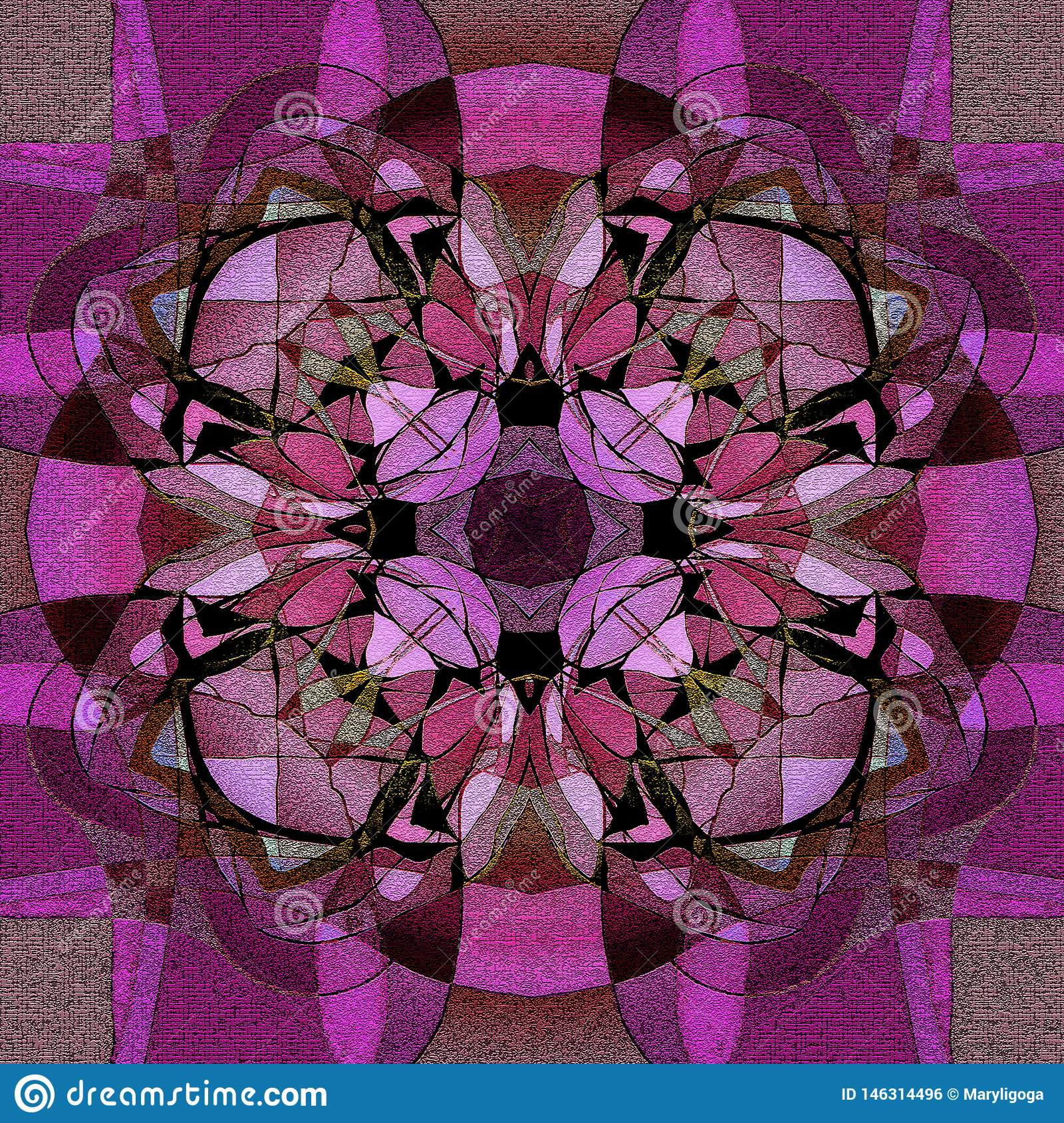 CLOVER MANDALA IN PURPLE GREEN WITH TEXTURE, VINTAGE STYLE, GEOMETRIC AND ROMANTIC, BRIGHT COLORS