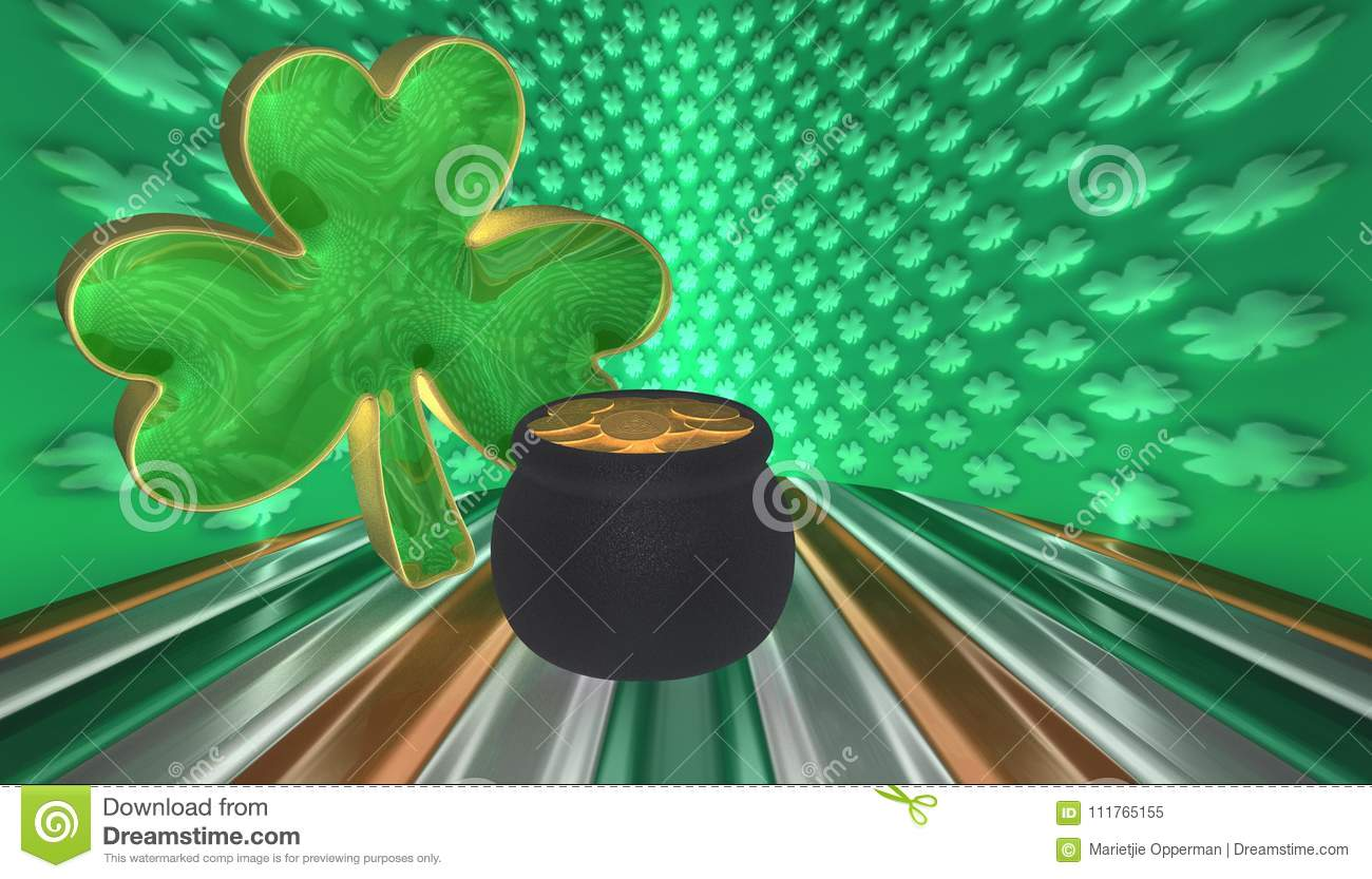 A clover with a pot of gold. Symbols for Saint Patricks day isolated against a flag of Ireland