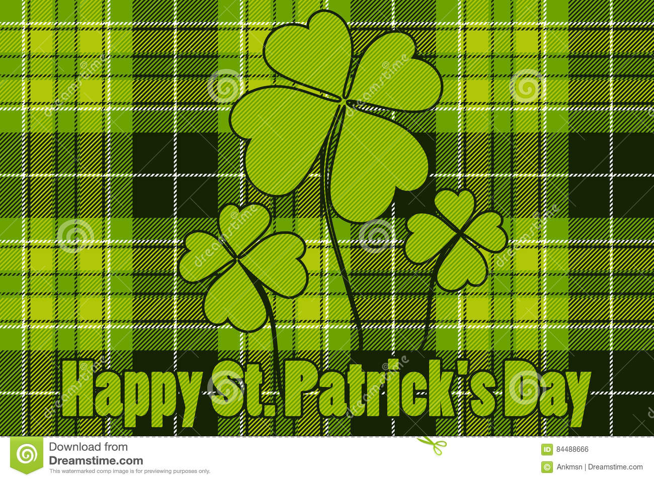 Clover on seamless check plaid background Happy St Patricks Day