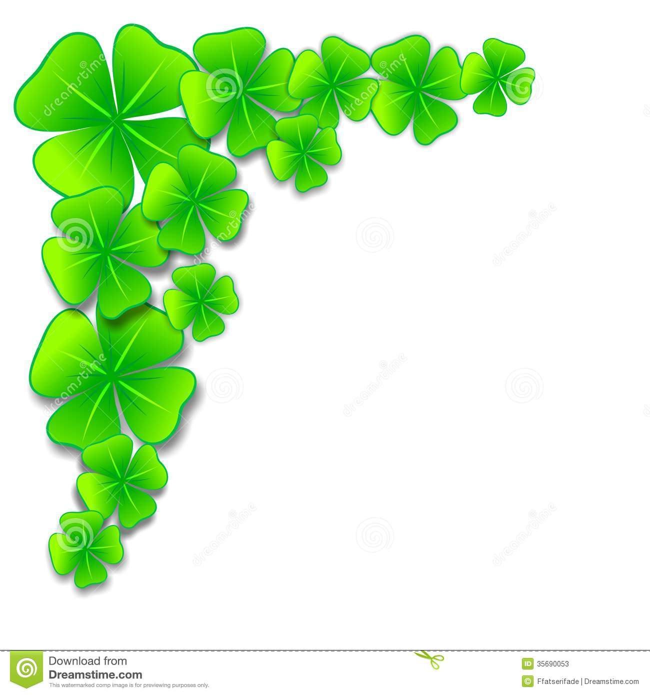 Decorative border with four-leaf clovers as luck charm.