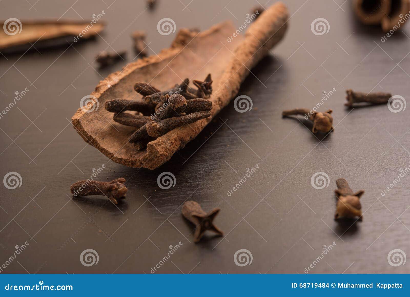 Cloves randomly arranged in Cinnamon