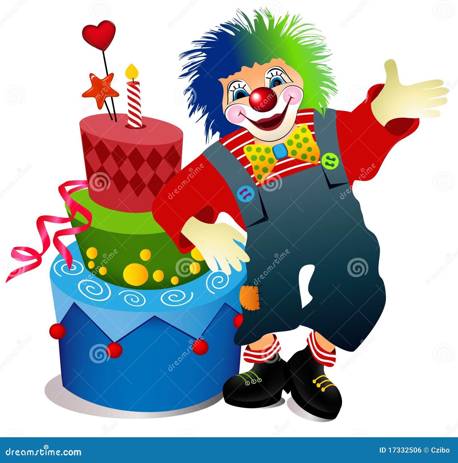 clown avec le g teau d 39 anniversaire image libre de droits image 17332506. Black Bedroom Furniture Sets. Home Design Ideas