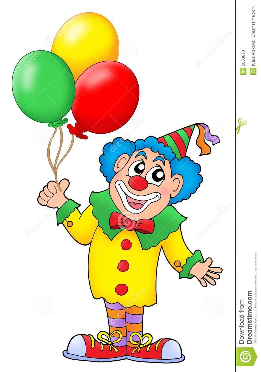 Clown With Colorful Balloons Color Illustration