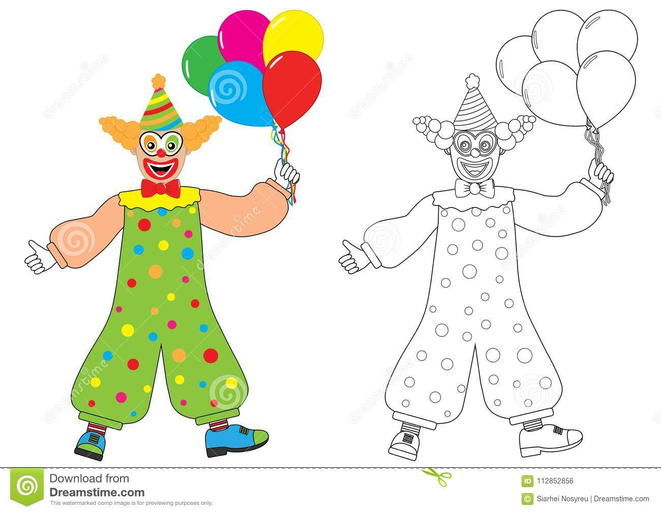 Clown With Balloons. Coloring Book. Activity For Children. Stock ...