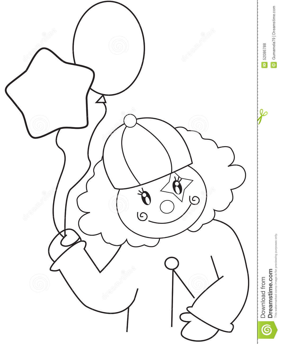 royalty free illustration download clown with balloons coloring page - Clown Balloons Coloring Page