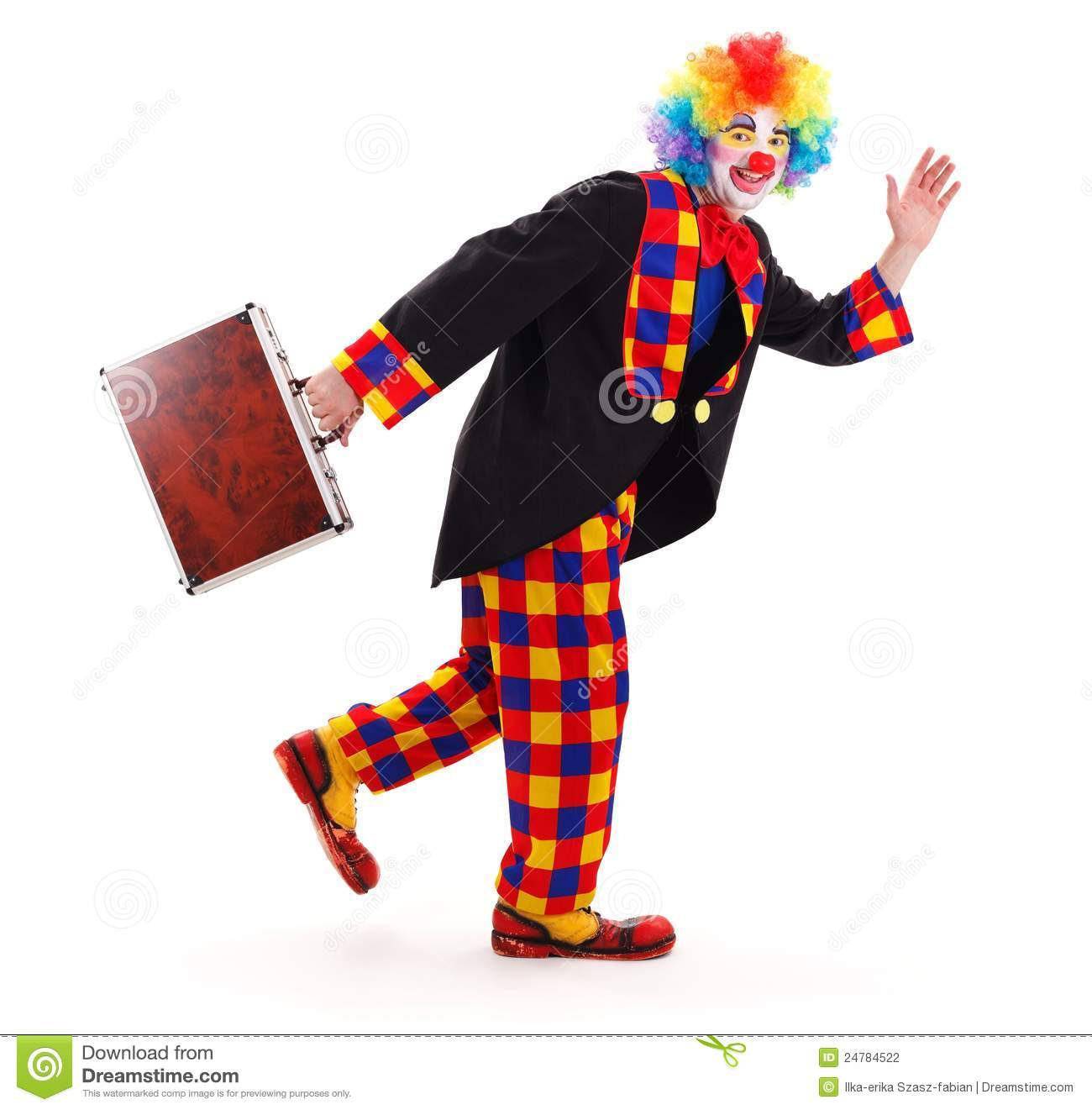 Happy clown walking away while swaying briefcase and waving with hand.