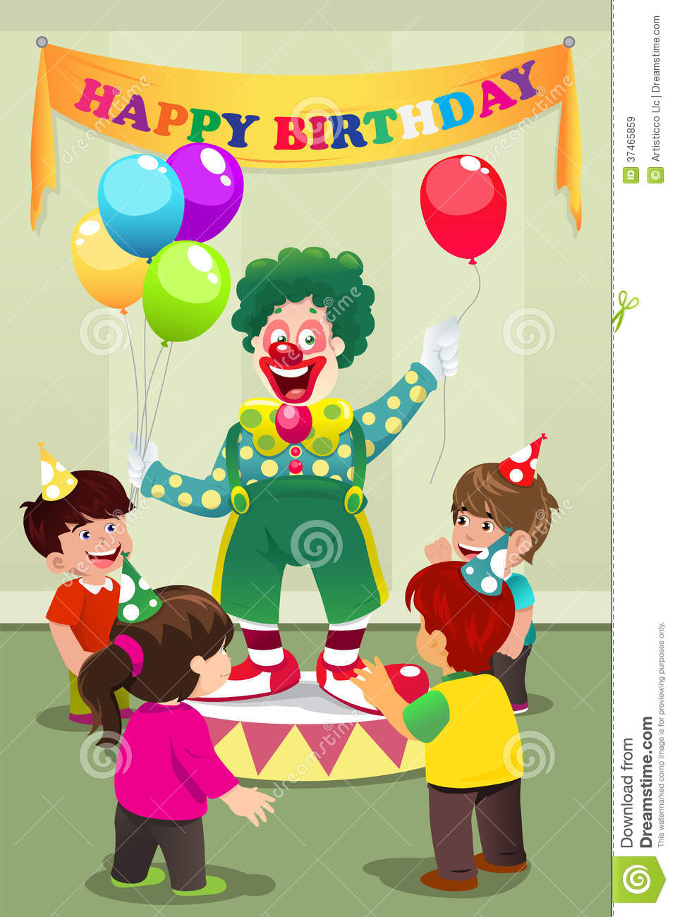 Clown Carrying Balloons To Kids Birthday Party Royalty Free Stock Images Image 37465859