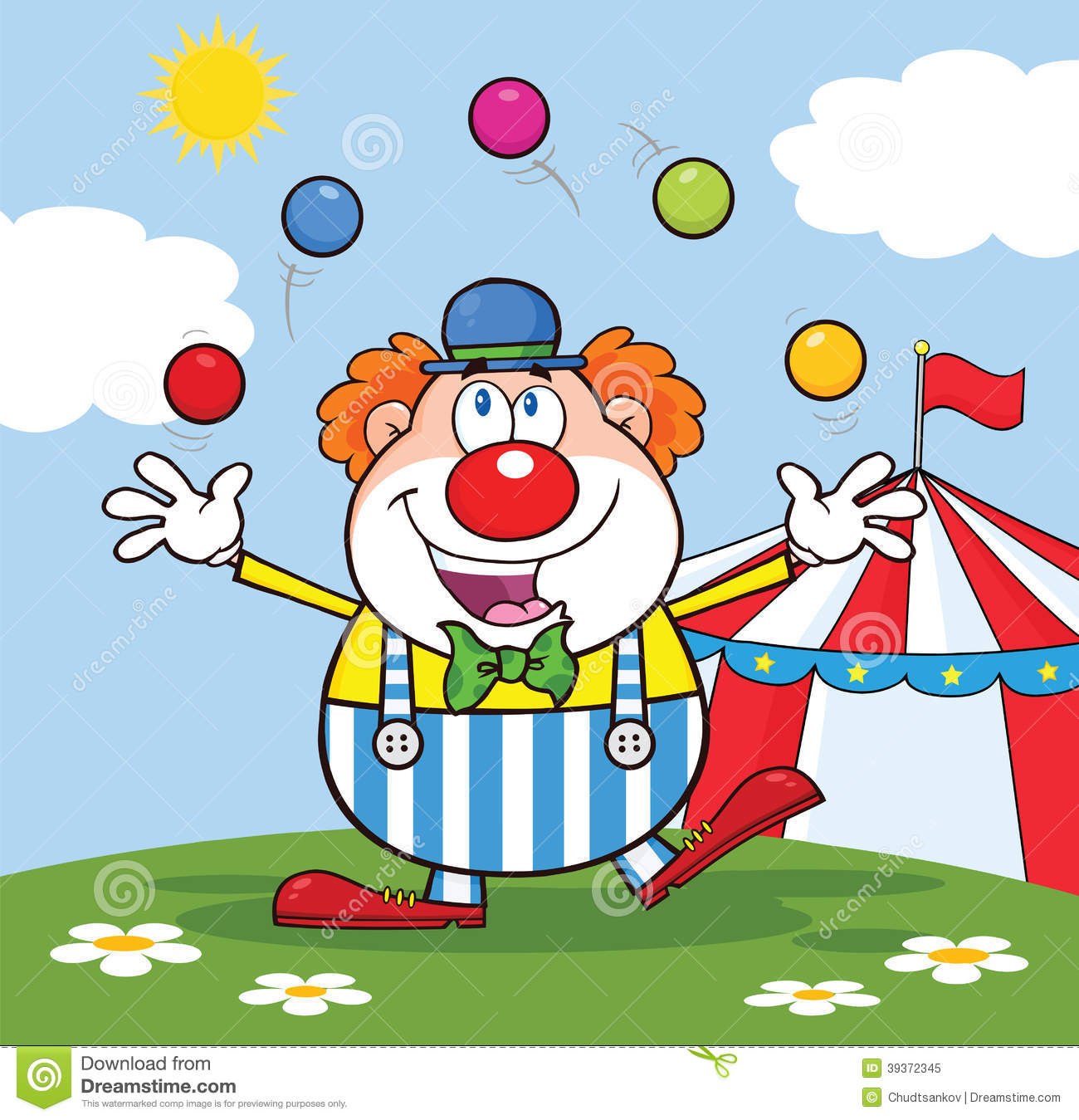 Clown Cartoon Character Juggling With Balls In Front Of Circus Tent  sc 1 st  Dreamstime.com & Clown Cartoon Character Juggling With Balls In Front Of Circus ...