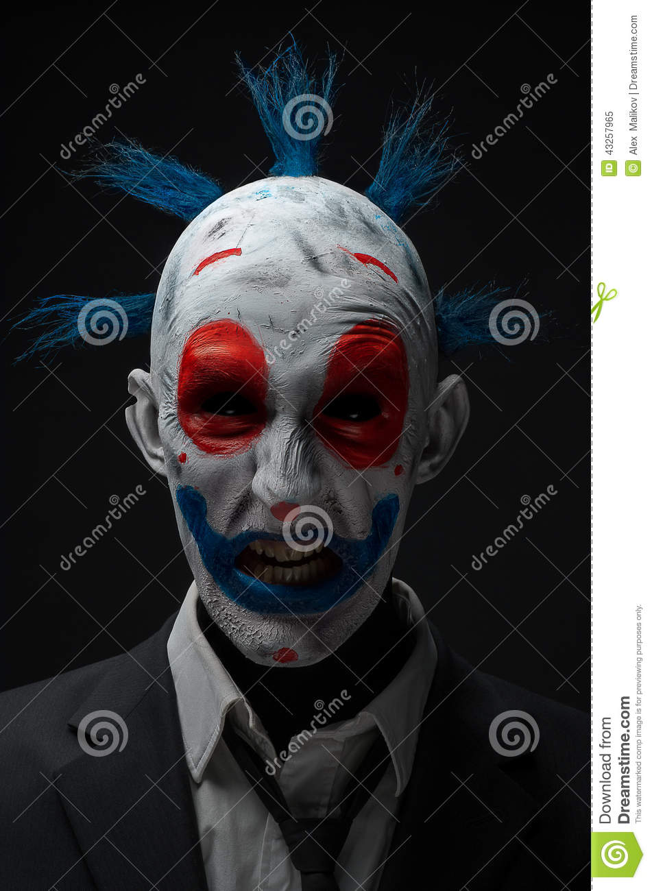 Clown Crazy Zombies Red Blue In A Jacket Stock Photo