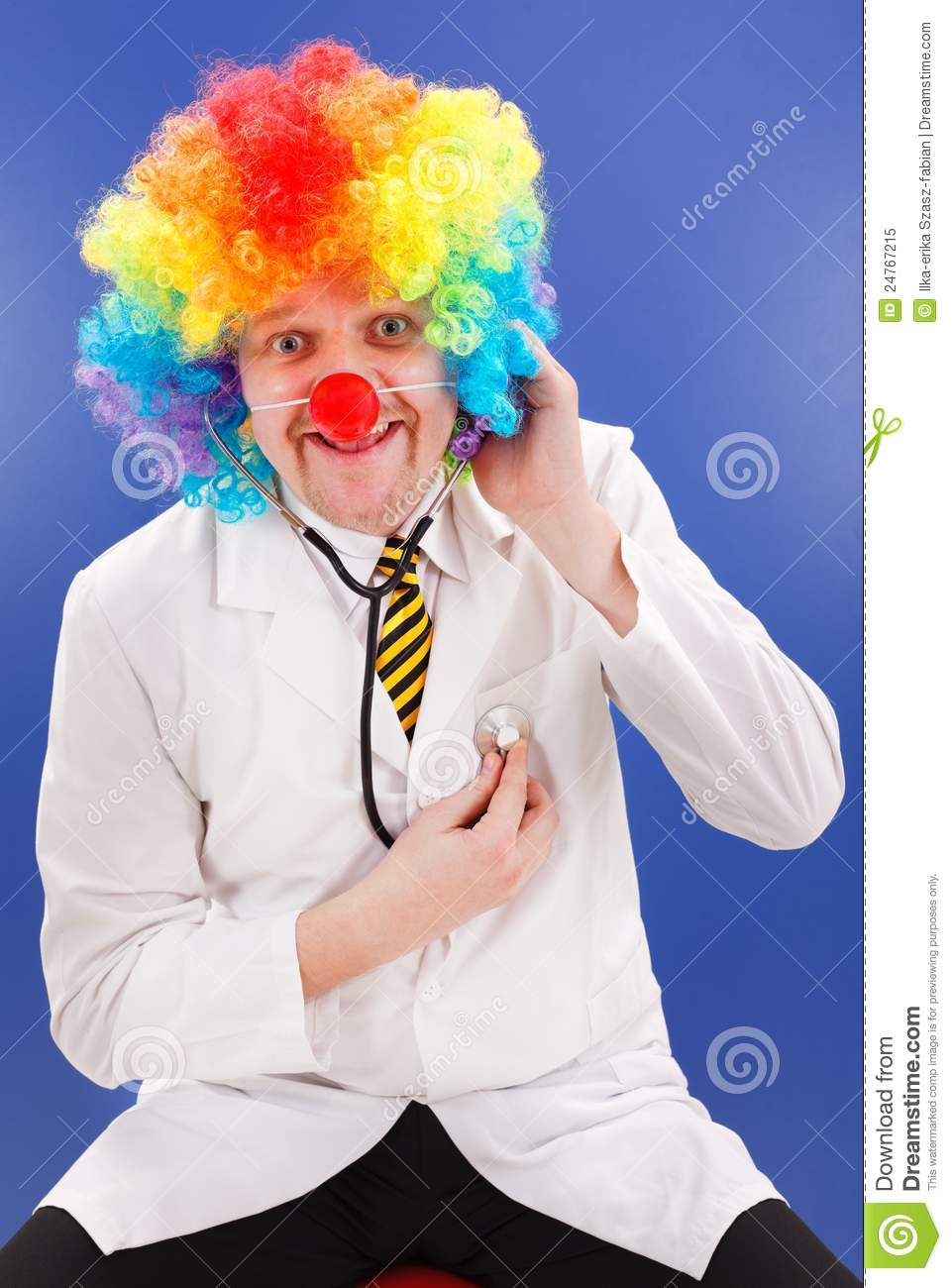 Clown Doctor On Blue With Stethoscope Royalty Free Stock Photo - Image ...