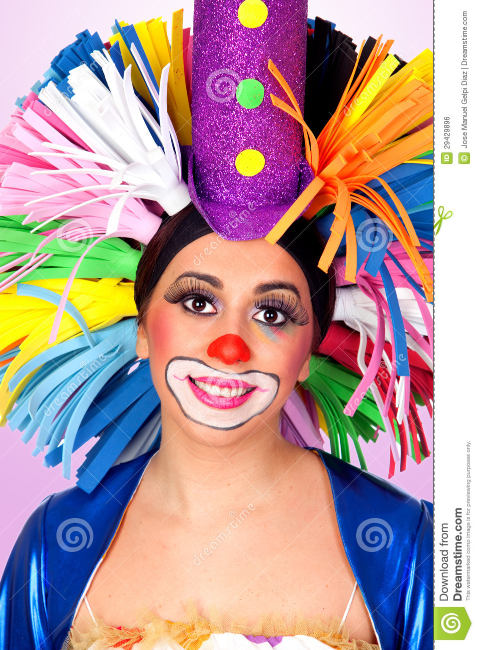 clown drle de fille avec une grande perruque colore - Perruque Colore