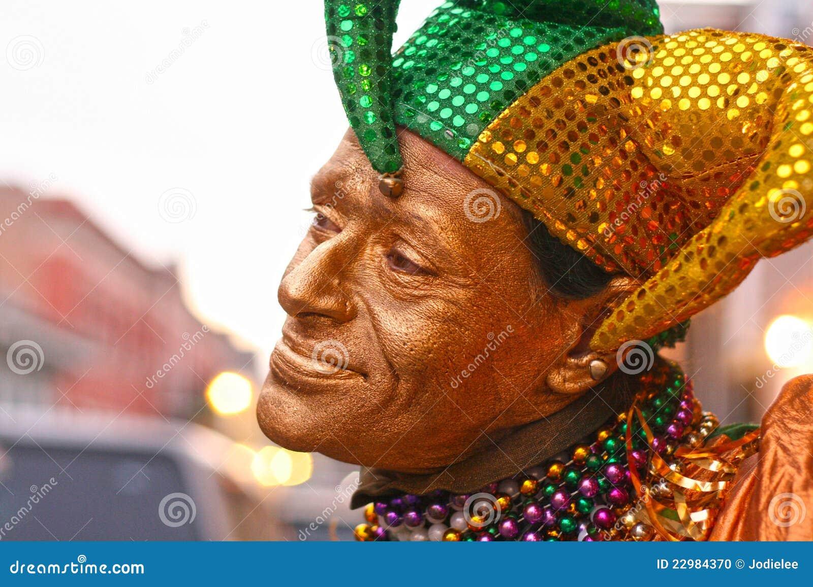 Clown för Mardi grasgyckelmakare i New Orleans