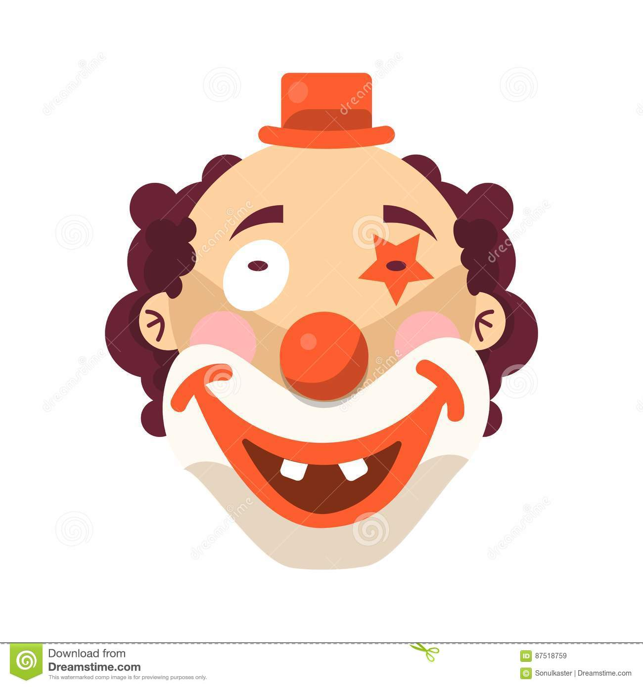 dc7d24772 Clown face smile. Vector isolated icon of cartoon circus funny comic man or  character on confetti background