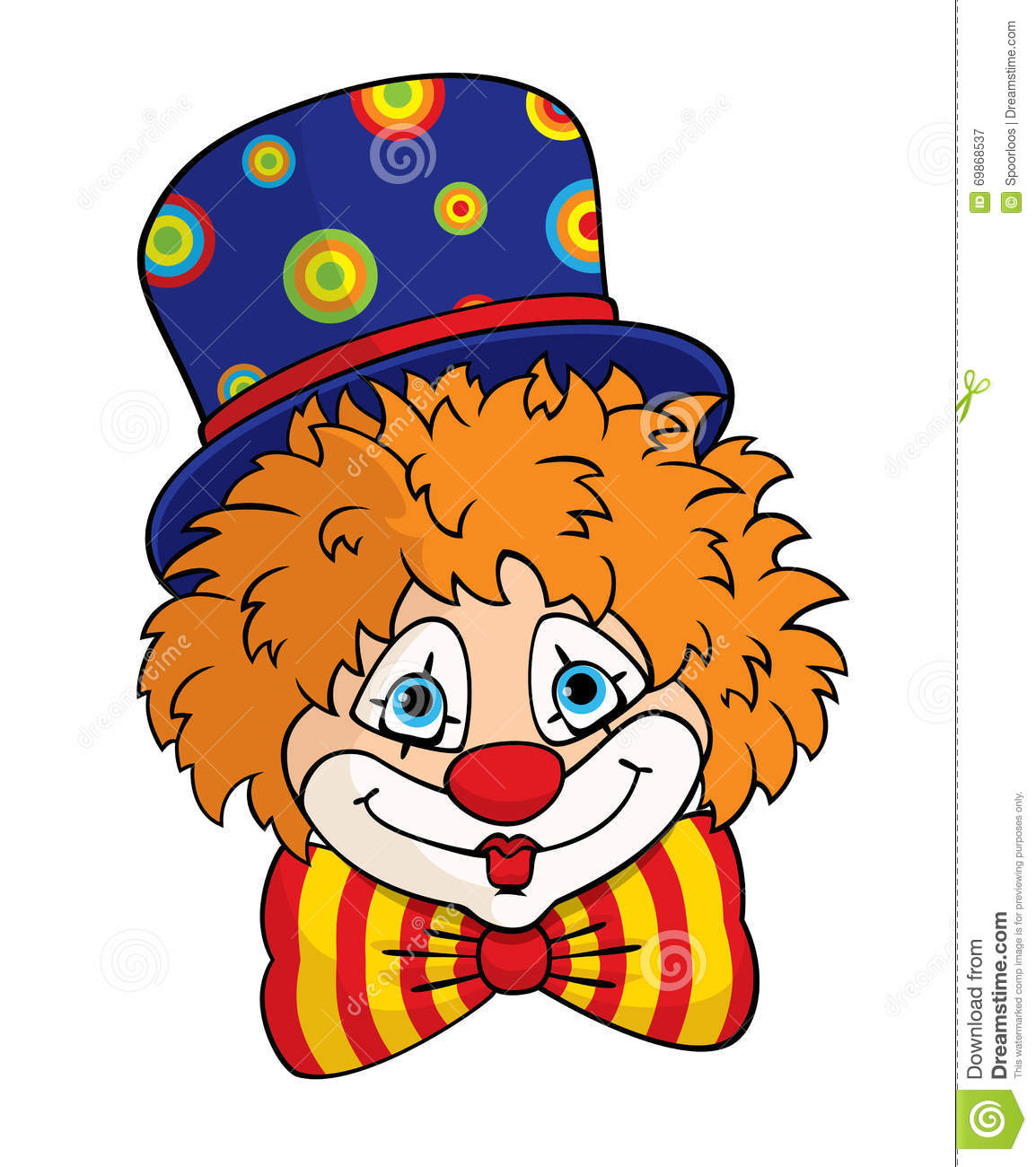 Vector portrait of a cute cartoon clown in a blue top hat and striped ...
