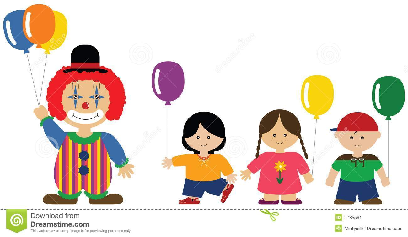 Clown Giving Balloons To Children Stock Image - Image: 9785591