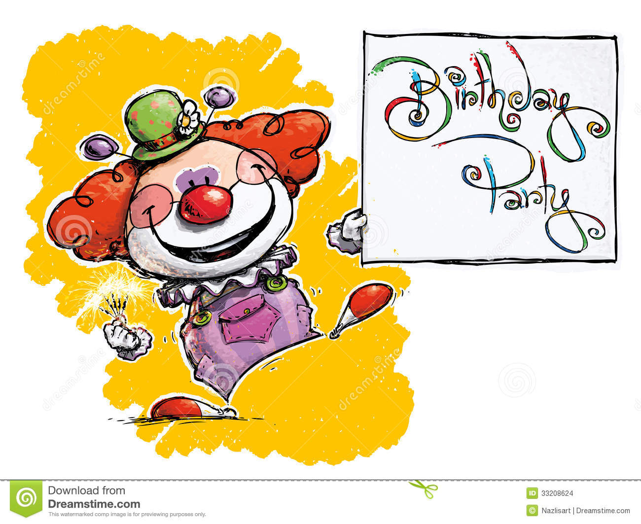 Clown Holding A Birthday Party Card Stock Vector